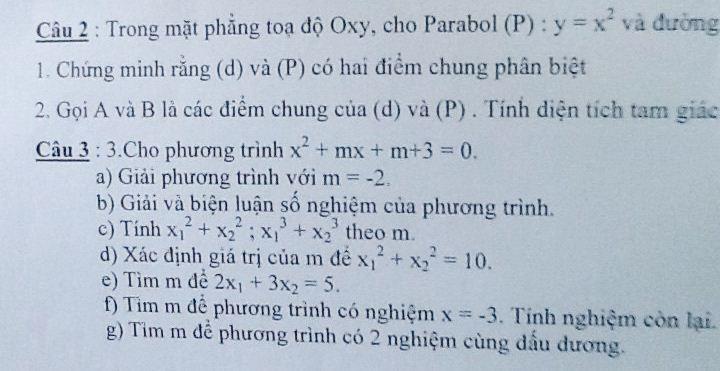 Toán 10: Phương trình X2+mx+m+3=0