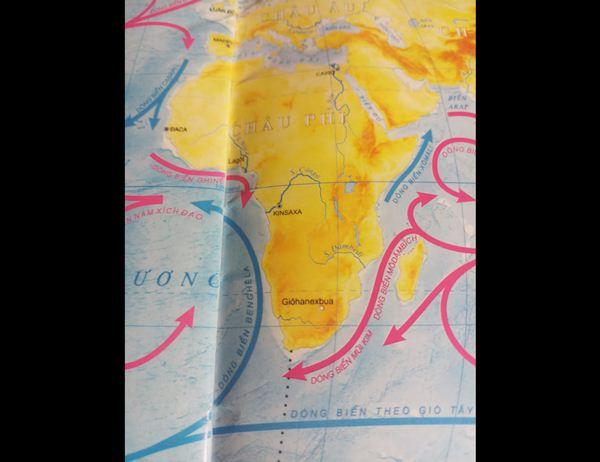 Bản đồ dòng biển chạy quanh Châu Phi
