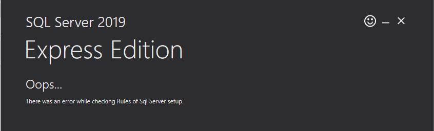 Lỗi cài đặt SQL Server 2019